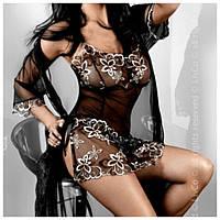 Халат прозрачный Hera Dressing Gown Livia Corsetti (цвет черный+золотой)