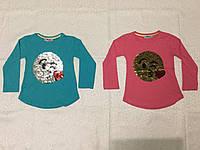 Туника для девочки 5-8 лет Смайл перевертыш голубого,малинового,розового цвета оптом