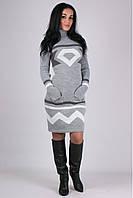 Платье трикотажное Диамант светло-серый -графит-белый