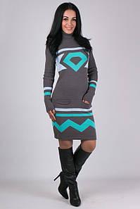 Платье вязаное Диамант графит-мята-голубой