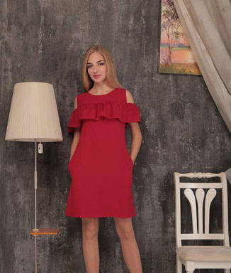 Коктейльне літнє плаття з воланом однотонне червоне, фото 2