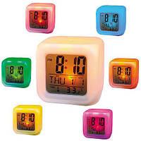 Светящиеся часы хамелеон в форме кубика