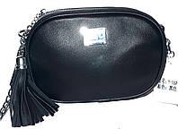 Женский черный брендовый клатч на 2 отделения на ремешке цепочке 19*12 см