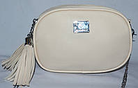 Женский бежевый брендовый клатч на 2 отделения на ремешке цепочке 19*12 см