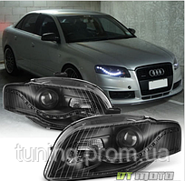 Тюнинг фары 2006-2008 Audi A4 S4 B7 [R8 Style] LED DRL Halogen