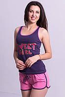 """Летняя пижама женская """"Sweet Girl""""комплект домашний майка и шорты хлопок"""
