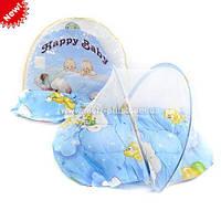 Коврик для младенца с маскитной сеткой,подушкой, в сумке 55*5,5*43см
