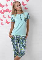 Домашняя пижама бриджи и футболкахлопковая женская комплект домашний трикотажный