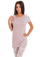 Домашний комлект женский длинная футболка и лосины пижама вискоза домашняя одежда Украина