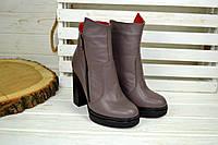 Женские ботильоны на каблуке кожаные бежевые, фото 1