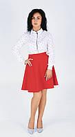Интересная женская красная юбка расширенного силуэта