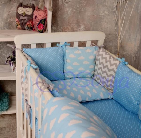 Комплект детского постельного белья Baby Design облака 6 пр.