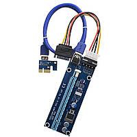 Райзер riser pci-e 1x to 16x Molex 4 pin ver.006 USB 3.0 60см