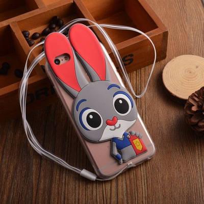 Чехол накладка для iPhone 5/5s/se Зверополис,зайка серый