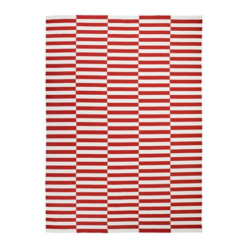 Ковер IKEA STOCKHOLM 2017 250x350 см безворсовый ручная работа полосатый белый красный оранжевый 003.452.38