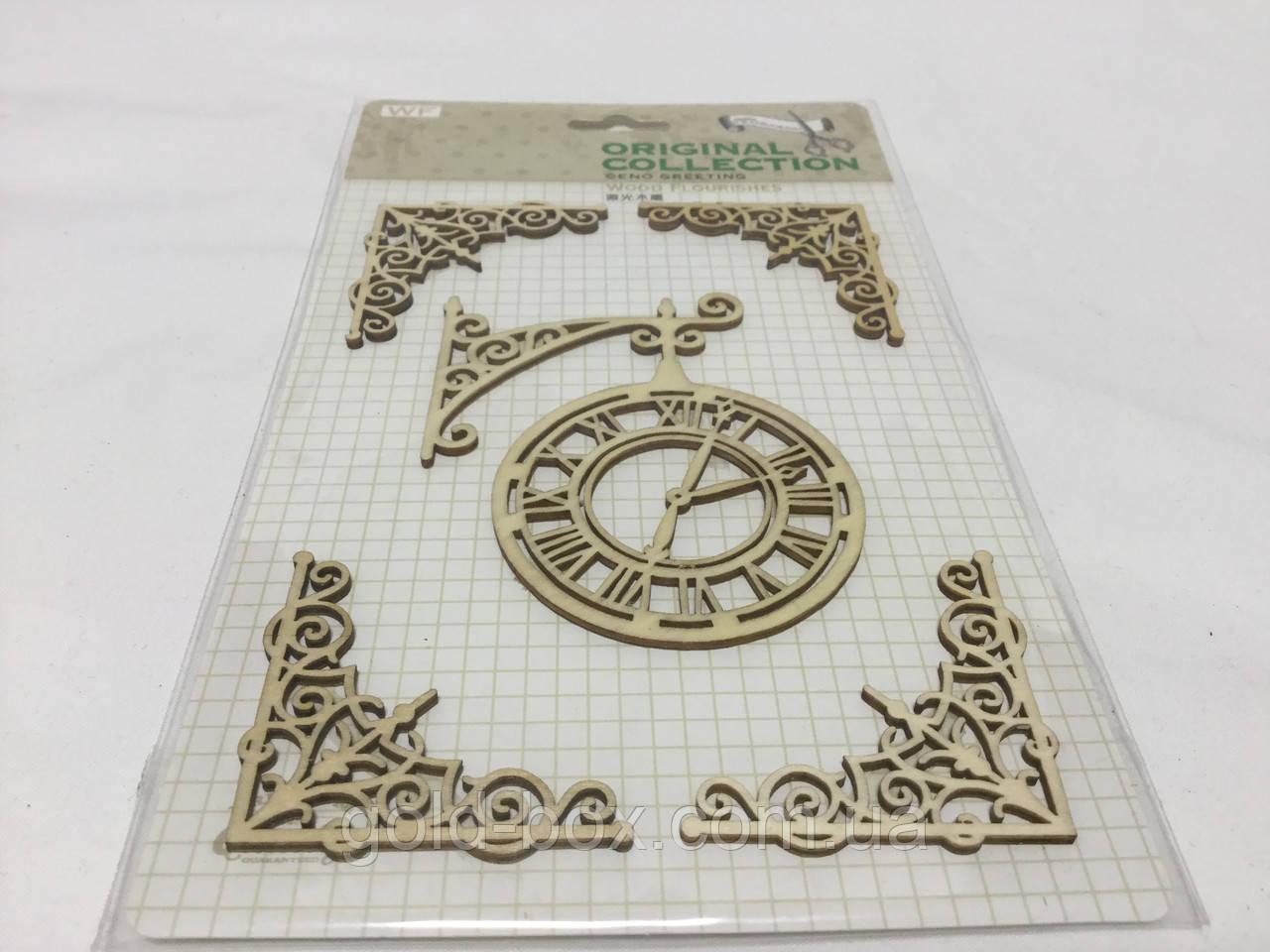 Декор для скрапбукинга часы, дерево, рамки
