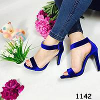 Босоножки женские велюровые синие 1142
