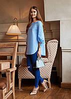 Женская Рубашка в нежно-голубом цвете M, голубой