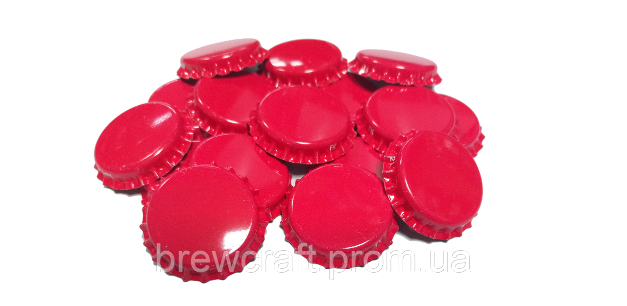Крышки пивные красные. Кроненпробки 100 шт 26 мм