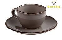 Кофейная пара Чашка Espresso Fortuna - 100 мл и Блюдце Espresso Fortuna - 135 мм, Серая (Merxteam)