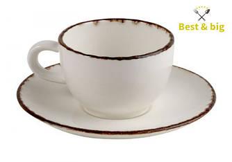 Кофейная пара Чашка Espresso Fortuna - 100 мл и Блюдце Espresso Fortuna - 135 мм, Бежевая (Xantia)