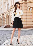 Черная юбка а-силуэта с накладными карманами M, черный