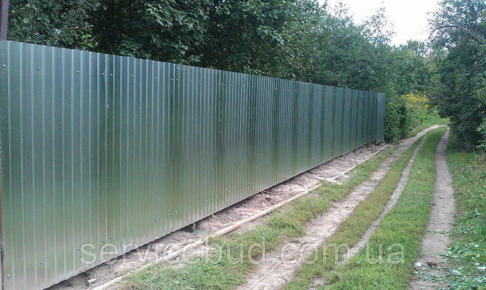 Забор из оцинкованного профнастила , фото 1