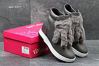 Женские зимние ботинки Purlina с декором серые 3577