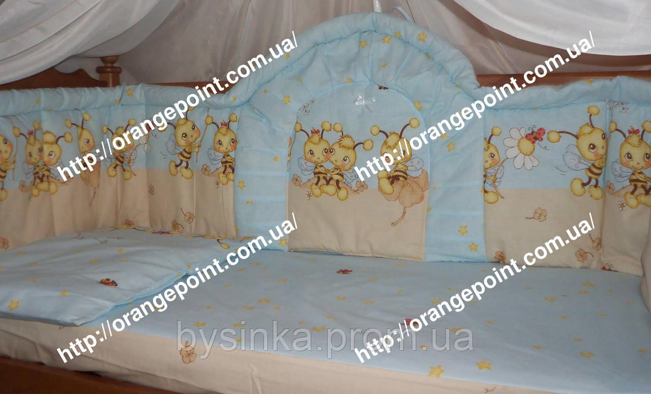 Бортики высокие (40 см) и комплект постели в кроватку детскую