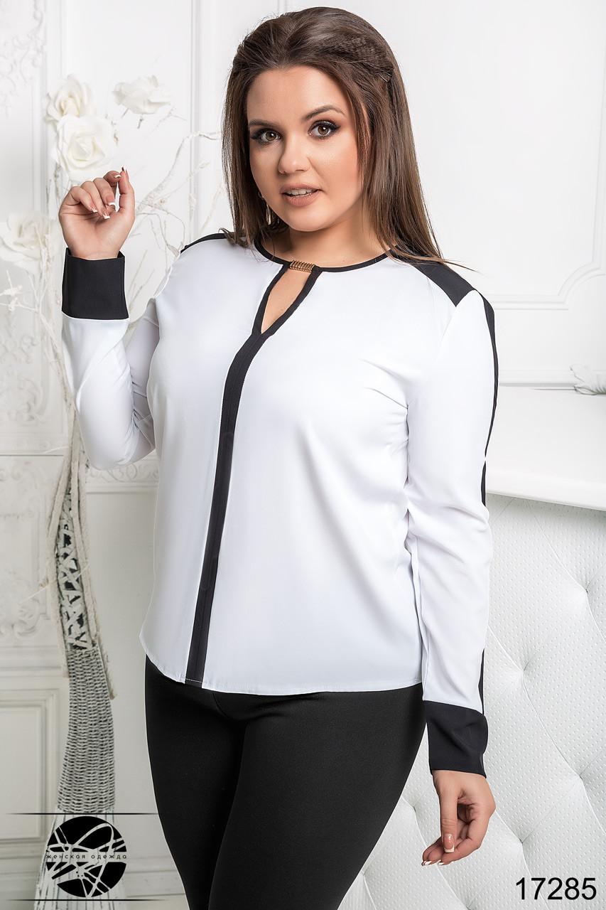 a5dc06d8b63 Стильная шифоновая блузка белого цвета с длинным рукавом. Модель 17285.  Размеры 50-56