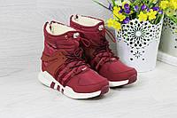 Зимние женские дутики Adidas Equipment бордовые 3795
