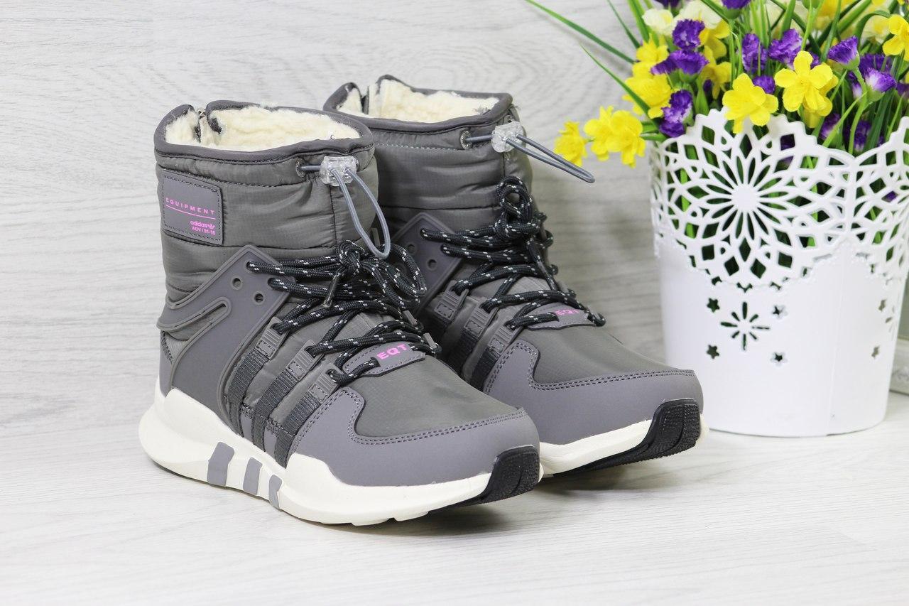 76a132a0d630 Зимние женские дутики Adidas Equipment серые 3796 - Я в шоке!™ - bt.