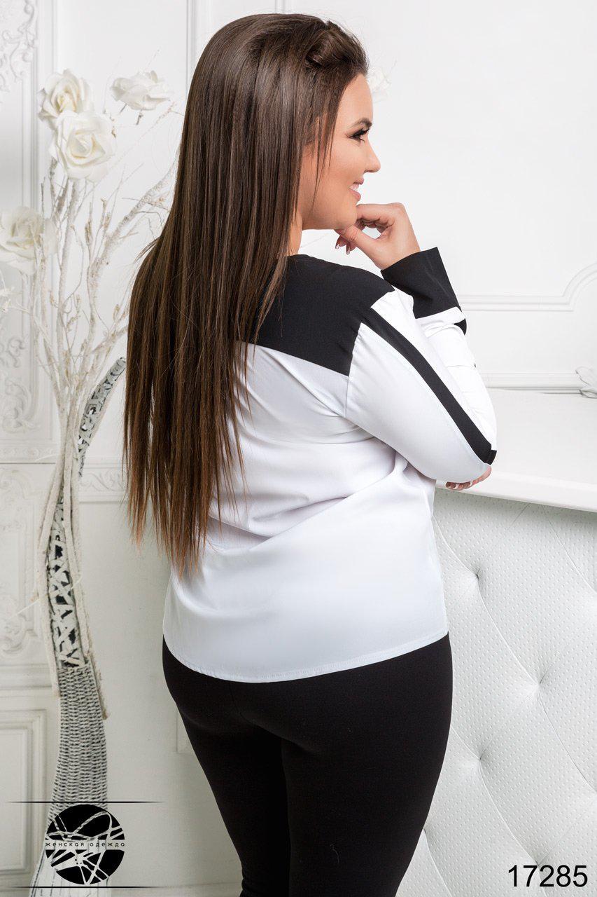 0e341edb7df Стильная шифоновая блузка белого цвета с длинным рукавом. Модель 17285.