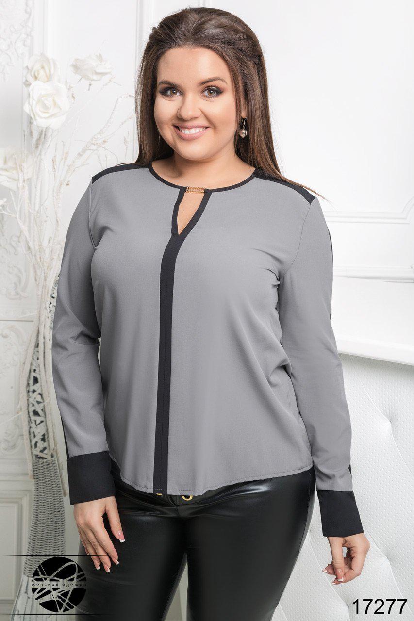 1a733ffefc8 Стильная шифоновая блузка серого цвета с длинным рукавом. Модель 17277.  Размеры 50-56