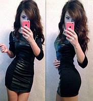 Женское модное кожаное платье с прибивными шипами
