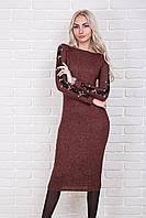 Трикотажное платье с красивыми кружевными вставками 84320