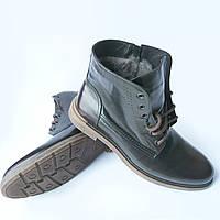 Зимняя обувь Икос : мужские ботинки, темно коричневого цвета, на натуральном меху