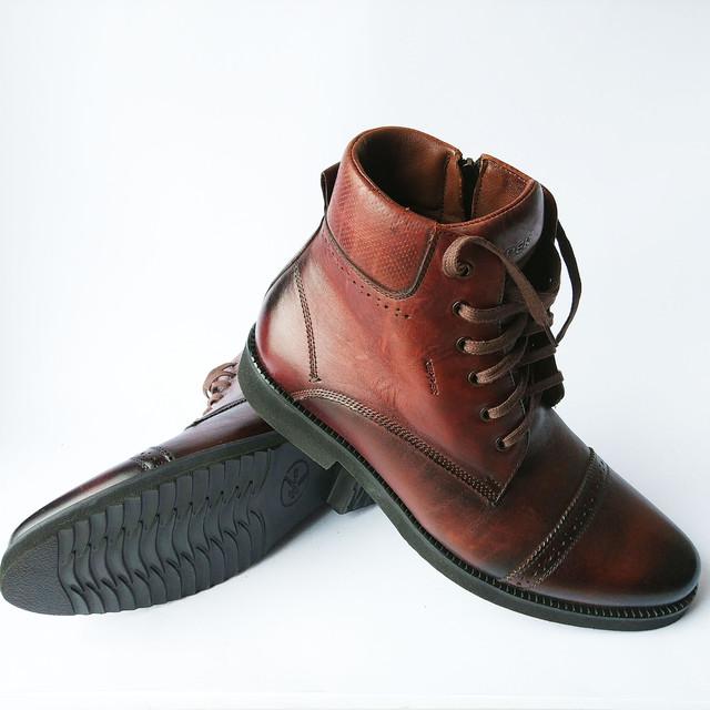 Зимняя, мужская обувь от Kepper Бровары высокие кожаные ботинки, коричневого цвета, на натуральном меху, на шнурку и замку