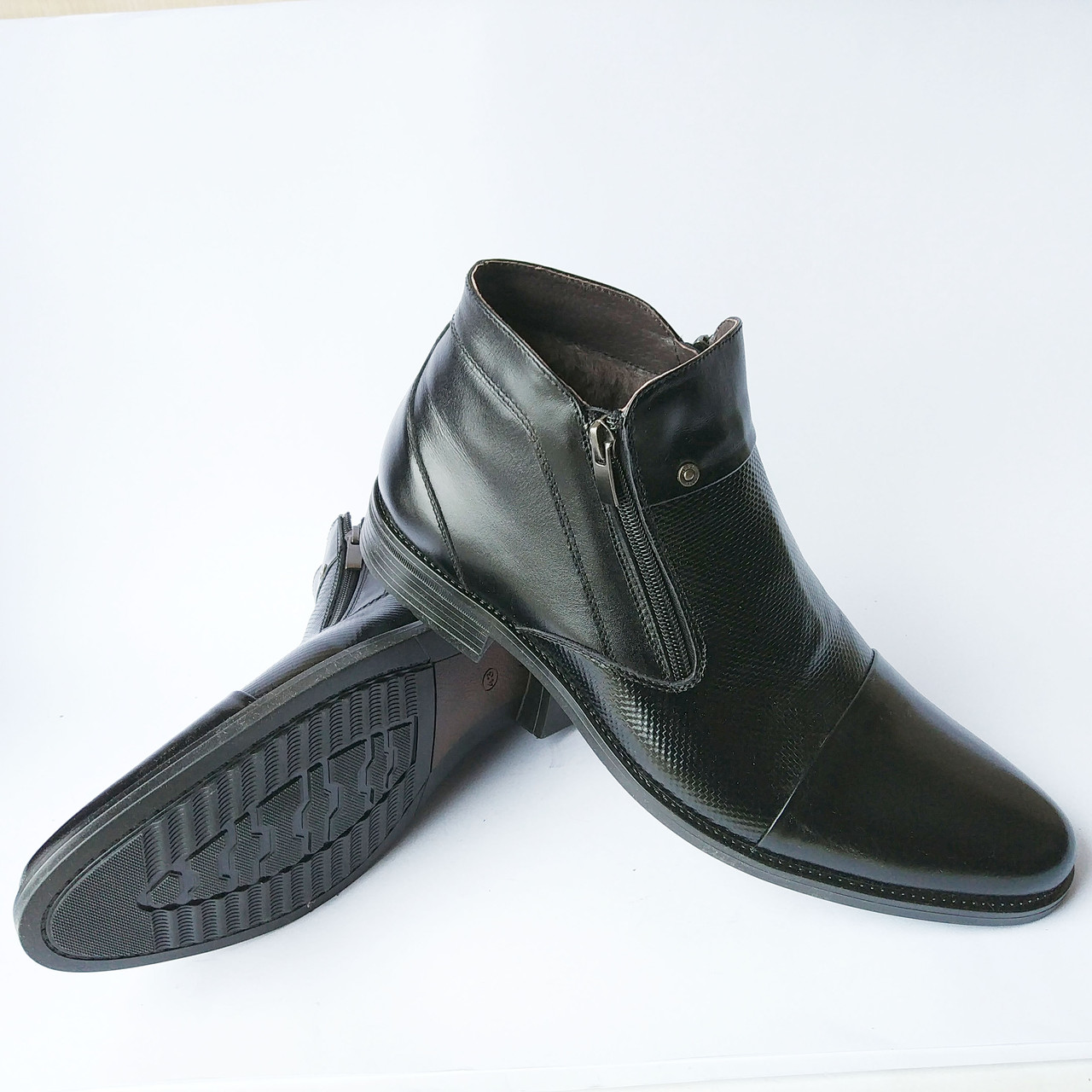 6b130d7f8484 Купить мужскую обувь норд   зимние, кожаные ботинки черного цвета, на  натуральном меху,