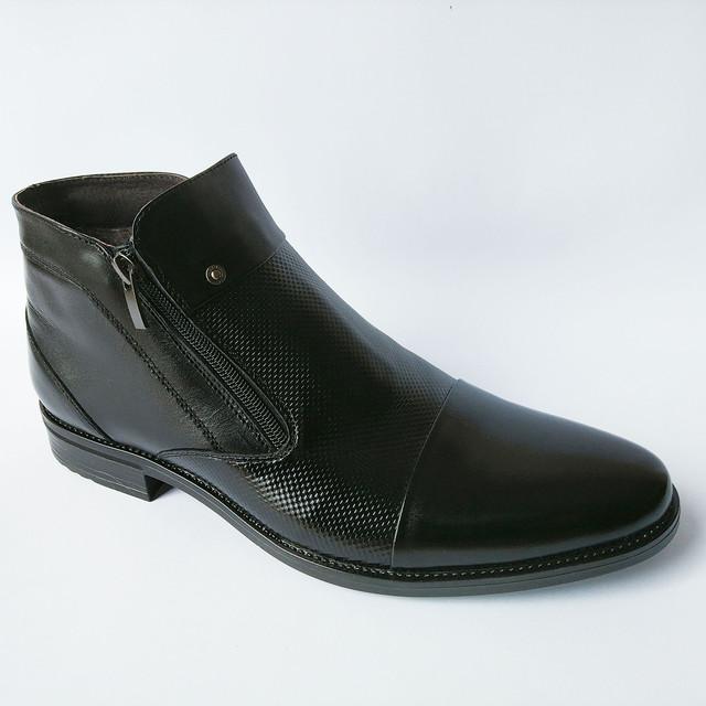 Купить зимнюю мужскую кожаную обувь норд плюс ботинки черного цвета на натуральном меху