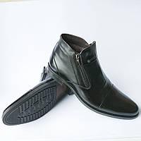 """Зимние черные кожаные мужские ботинки фабрики """"Nord Plus"""" на натуральном меху Черный, 43"""