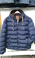 Мужская стильная синяя куртка с капюшоном