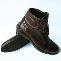 Купить мужские ботинки Ікос : зимние ботинки, шоколадного цвета, на натуральном меху