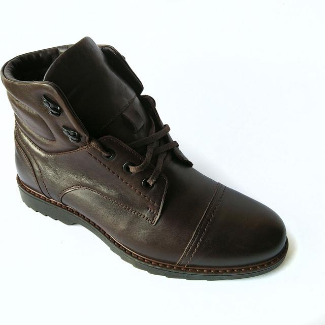 купить мужские зимние ботинки кожаные шоколадного цвета на шнуровке на натуральном меху