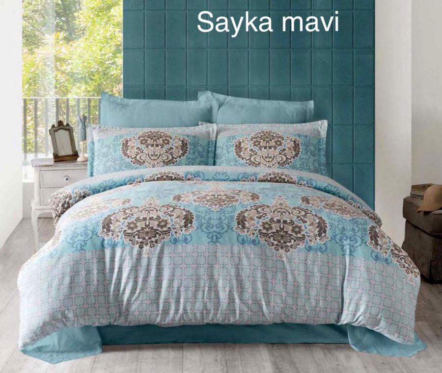 Постельное белье Altinbasak (семейное) сатин № Sayka Mavi