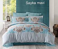 Постельное белье Altinbasak (семейное) сатин № Sayka Mavi, фото 1