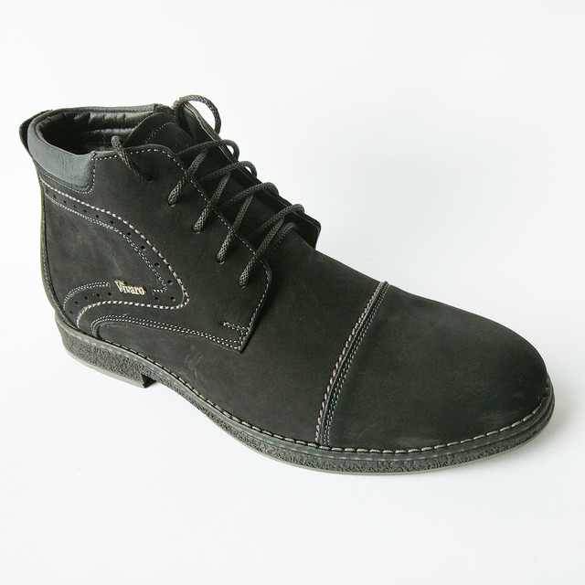 зимняя кожаная мужская обувь Харьков классические замшевые ботинки темно синего цвета на шерсти на шнурку и замку от Vivaro