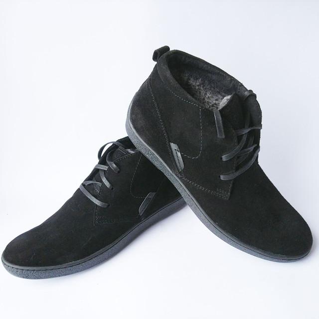 Зимняя, мужская, кожаная обувь Safari, хмельницкая фабрики Украина, замшевые ботинки черного цвета, на шнуровке, повседневные