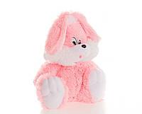 Плюшевий Зайчик Аліна сидячий 35 см рожевий, фото 1