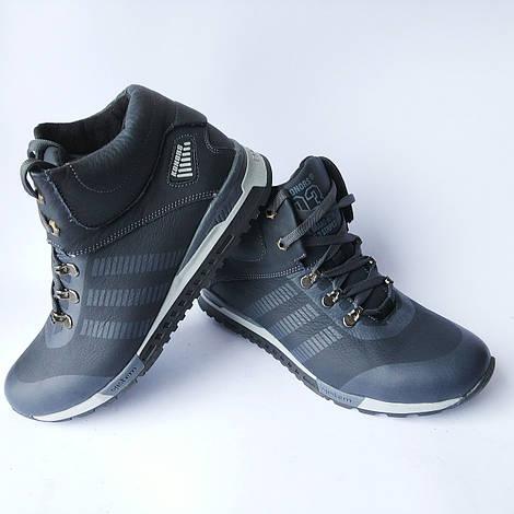 Мужская зимняя обувь Konors : кожаные кроссовки, синего цвета, на шерсти